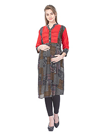 MomToBe Three Fourth Sleeves Maternity Kurti - Red & Grey