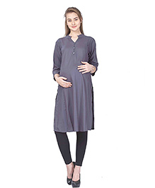 MomToBe Three Fourth Sleeves Maternity Nursing Kurti - Grey