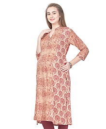 MomToBe Rayon Three Fourth Sleeves Maternity Kurti Printed - Maroon & Brown