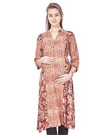 MomToBe Rayon Three Fourth Sleeves Leaves Printed Maternity Kurti - Maroon & Brown