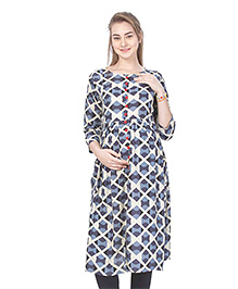 MomToBe Three Fourth Sleeves Rayon Maternity Kurti - Grey