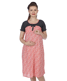 MomToBe Puff Sleeves Maternity Dress Floral Print - Black Pink