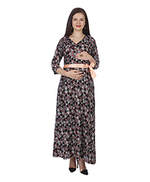 MomToBe Three Fourth Sleeves Maternity Dress Geometric Print - Black