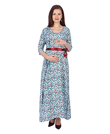 MomToBe Three Fourth Sleeves Floral Maternity Dress - Sky Blue