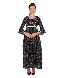 MomToBe Three Fourth Sleeves Maternity Dress - Black