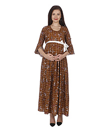 MomToBe Three Fourth Sleeves Maternity Dress - Brown