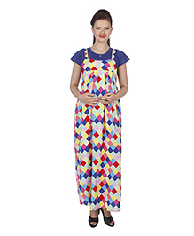 MomToBe Short Sleeves Maternity Dress Geometrical Print - Blue