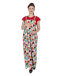MomToBe Short Sleeves Maternity Dress Geometrical Print - Crimson Red