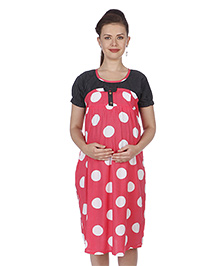 MomToBe Short Sleeves Maternity Dress Polka Dot Print - Black & Pink