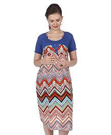 MomToBe Short Sleeves Printed Maternity Dress - Blue