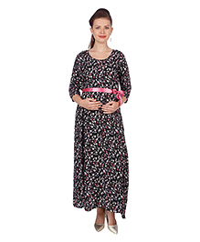 MomToBe Printed Three Fourth Sleeves Maternity Dress  - Black