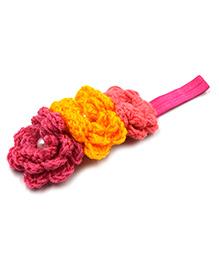 Magic Needles 3 Crochet Flower Elastic Headband - Multicolor