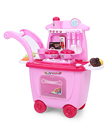 Dr. Toy Trolly Carry Van 3 In 1 Kitchen Set Pack Of 30 Pieces - Pink