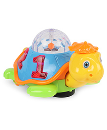 Dr. Toy Battery Operated Tortoise With Light & Music - Yellow Green Blue