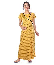 Kriti Short Sleeves Maternity Nursing Nighty Stars Print - Mustard Yellow
