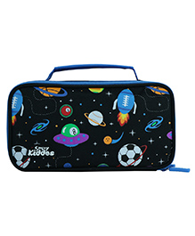 Smilykiddos Double Compartment Pencil Box With Handle - Black