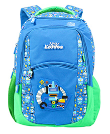 Smilykiddos Dreamland Backpack With Padded Adjustable Straps Car Print Blue - Height 16 Inches