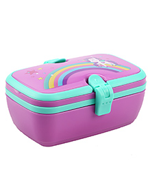 SmilyKiddos Fantasy Lunch Box With Spoon & Fork Rainbow Design - Purple & Blue