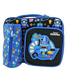 Smilykiddos Fantasy Compartment Lunch Bag Robot Print - Blue & Black