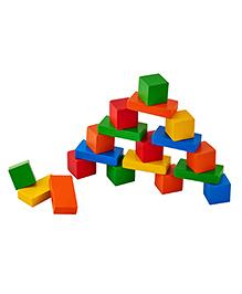 Eduedge Wooden Cubes & Bricks Multicolour - Pack Of 30 Pieces