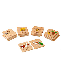 Eduedge Wooden Animal Use Matching Plates Puzzle - 15 Pieces