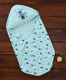 Simply Hooded Wrapper Bear Print - Sea Green