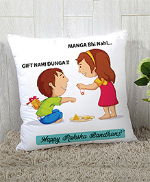 StyBuzz Raksha Bandhan Rakhi Gift Cushion Cover - Green Pink White