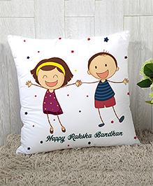 StyBuzz Raksha Bandhan Rakhi Gift Cushion Cover Star Print - White