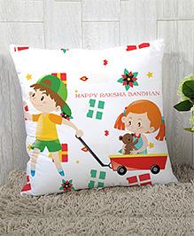 StyBuzz Raksha Bandhan Rakhi Gift Cushion Cover - Yellow White