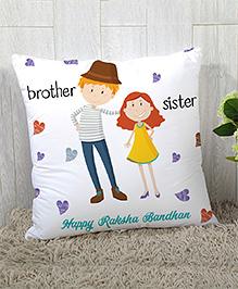 StyBuzz Raksha Bandhan Rakhi Gift Cushion Cover Brother Sister Print - White
