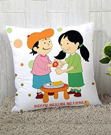 StyBuzz Raksha Bandhan Rakhi Gift Cushion Cover - White Green Pink