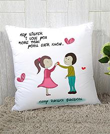 StyBuzz Raksha Bandhan Rakhi Gift Cushion Cover - White Pink