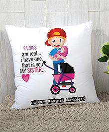 StyBuzz Raksha Bandhan Rakhi Gift Cushion Cover - Pink White