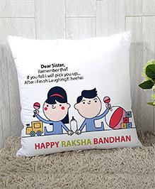 Stybuzz Raksha Bandhan Rakhi Gift Cushion Cover - White Blue