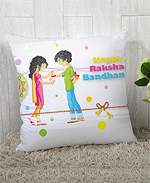 Stybuzz Raksha Bandhan Rakhi Gift Cushion Cover - Pink Green White