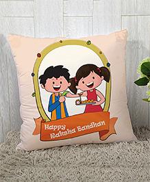 Stybuzz Raksha Bandhan Rakhi Gift Cushion Cover - Light Peach