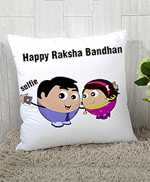Stybuzz Raksha Bandhan Rakhi Gift Cushion Cover - Whiye Purple