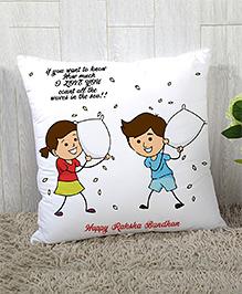 Stybuzz Raksha Bandhan Cushion Cover Waves In The Sea Print - White