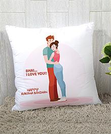 Stybuzz Raksha Bandhan Cushion Cover Bhai I Love You Print - White