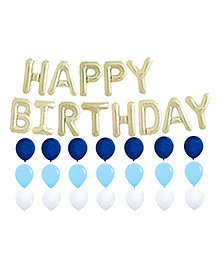 Amfin Happy Birthday Letter Foil Balloons Combo Pack Of 63 - Silver