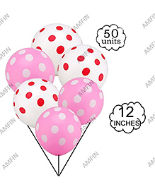 Amfin Balloons With Polka Dot Print Pack Of 50 - White Pink