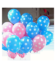 Amfin Balloons With Polka Dot Print Pack Of 50 - Blue Pink