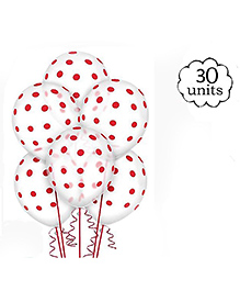 Amfin Balloons With Polka Dot Print Pack Of 30 - White