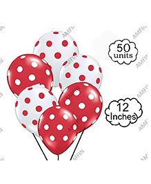 Amfin Balloons With Polka Dot Print Pack Of 50 - White Red