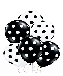 Amfin Balloons With Polka Dot Print Pack Of 50 - Black White