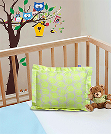 The Baby Atelier Pillow Cover With Fillers Owl Print - Green