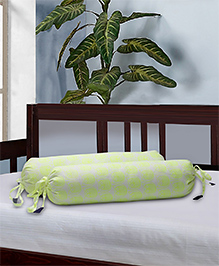 The Baby Atelier Bolster Cover With Fillers Owl Print - Light Green