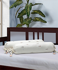 The Baby Atelier Bolster Cover With Fillers Lady & Umbrella Print - Off White