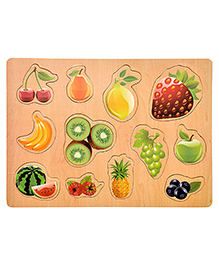 Toyshine Fruits Themed Wooden Puzzle Multicolour - 12 Pieces