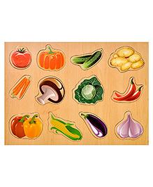 Toyshine Vegetable Themed Wooden Puzzle Multicolour - 12 Pieces